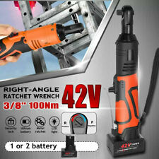 42V 3/8'' 100Nm Electric Cordless Ratchet Wrench 90° Right Angle & 1 Battery Kit
