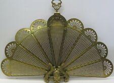 Vintage Brass Folding Fireplace Peacock/Dragon Fan Screen Guard