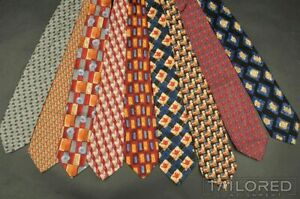 LOT of 9 - ERMENEGILDO ZEGNA Colorful Geometric 100% Silk Mens Luxury Tie Ties