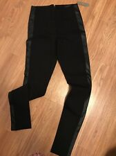 NWT J Crew Pixie pant with leather tux stripe Size  10 Black $138 E1228