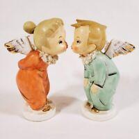 Vintage Pair of Napco Kissing Angels w Spaghetti Collar Gold Trim Labels S395E F
