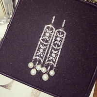 Boucles d'Oreilles Clou Argenté Rectangle Art Deco Perle Mariage Filigrane P1