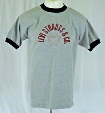 Levis Strauss & Co. T Shirt Retro Ringer Neck Spell Out Gray Black Size Large