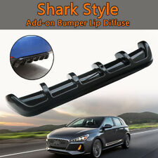 "25""x5"" Universal Bright Black Car Rear Shark 6 Fin Curved Bumper Lip Diffuser"