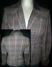 TOMMY HILFIGHER Womens Button Suit Blazer Jacket Coat Medium Brown Pink Stripe