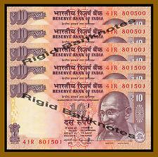 5 Pcs x India 10 Rupees, 2014 P-102 New Rupee Symbol Unc
