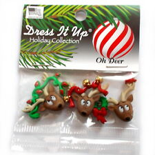 Dress It up Buttons Oh Deer 3 Decorated Christmas Reindeer Heads