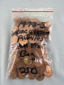 250 - 5 Rolls - $2.50 Uncirculated 1973-S Lincoln Pennies From US Mint Bag