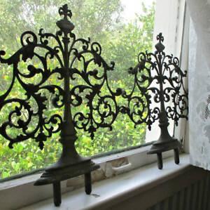 "Pr Antique Ornate 17"" BRONZE Ornaments Pediments GATE Posts COLUMNS Furniture +"