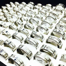 wholesale 50pcs/pack mix styles silver rhinestone stainless steel Jewelry Rings