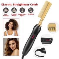 Hair Straightener Flat Irons Straightening Brush Hot Heating Straight Hair Comb.
