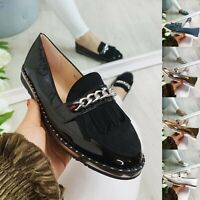 Womens Loafers Ladies Pumps Boat Slip On Flats Work Chain School Comfy Shoes