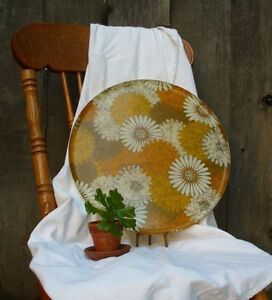 Mid Century Modern Floral Fiberglass Tray Large Vintage Bright Colorful Decor