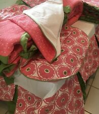 Baby Crib Bedding Nursery Frog 6 piece Set Hand Made Girl Pink And Green Floral