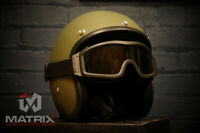 Matrix Jet Low profile Open Face helmet in Matt Camo Green Slim fit+Free Goggles