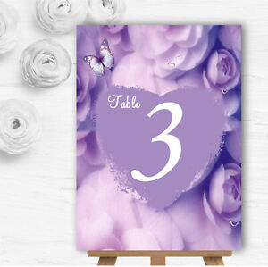 Lilac Lavender Butterfly Personalised Wedding Table Number Name Cards