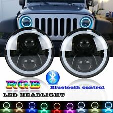 7in LED Headlight Kit RGB Halo Angel Eyes DRL for Hummer H1 H2 Bluetooth Control
