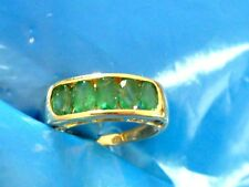 14k yellow gold 5 oval NATURAL MINED EMERALD RING SZ 5.25 EMERALD RING