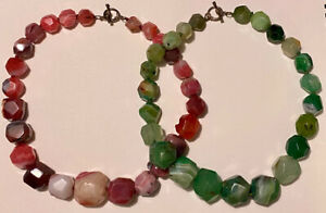 2 LUCAS LAMETH Pink & Green Chunky Faceted Stone Bead Necklaces Sterling Toggles