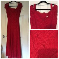 Bellezza Womens Evening Formal Party Lace Maxi Red Dress Prom Long Size 36 (A345