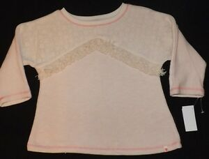 NEW girls LUCKY BRAND cream long sleeve with fringe Size small (8)