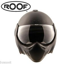 Helmet Visor Roof Boxer V8 Full Black Ro5 Convertible Jet Scooter Motorcycle L