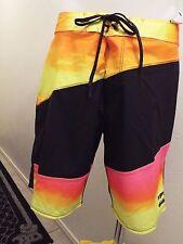 NEW Size 34 BILLABONG PLATINUMX Swimsuit Board Shorts BLACK YELLOW ORANGE $70