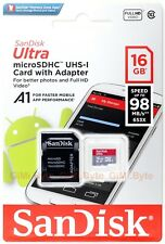 SanDisk Ultra 16 GB 16G micro SD SDHC Class 10 A1 UHS-I Memory 98MB/s Adapter TF