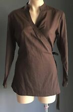 Pre-owned JETS Brown Semi Sheer Cotton Cross Over/Wrap Top Size S-M (10-12)
