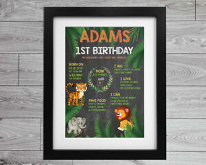 1st Birthday A4 Keepsake Personalised poster print Chalk Board Style Sign