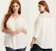 New 3X 22/24 Torrid Ivory Embroidered Lace Button Front Gauze Boho Blouse Shirt
