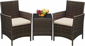 Outdoor Patio Furniture Set 3 Pieces Greesum Brown and Beige material is Rattan