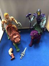 Vintage He-man Skeletor Battle Cat And Panthor MOTU Figure 1981 Weapons Lot