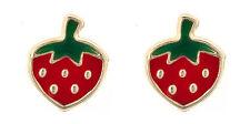 9ct gold esmalte fresa fruta broche / tachuelas / pendientes / Caja de regalo