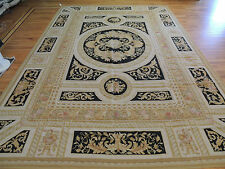 Bold Large French Aubusson Style Area Rug 10x14 Oriental Area Rug Black Gold