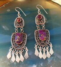 Ohrring Türkis Kupfertürkis lila violett orientalischer Stil Sterling Silber 925