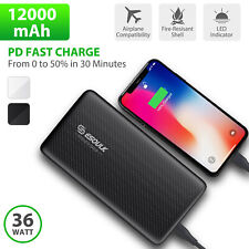 USB C 36W PD Fast Charge 12000mAh Power Bank External Battery for Iphone 11 Pro
