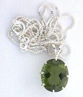 6.30 Carat Oval Lab Created  Moldavite Gemstone Sterling Silver Pendant Chain