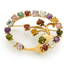18K Stylish Natural Stone Brooch with 14 Different Types of Natural Stones