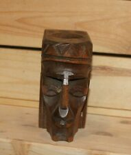 Vintage hand carving wood figurine pen/pencil holder