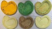 Lot Set of 6 Vintage 1974 Arnels Ceramic Mushroom Divided luncheon plate Variety