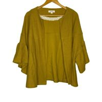 THML Mustard Yellow Bell Sleeve Cardigan Sweater womens size Large