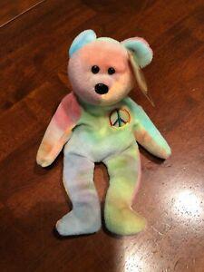 Original  Beanie Babies  Tie Dye Peace Bear  DOB February 1, 1996 Mint