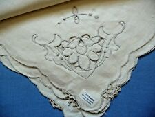 Vintage NEW Set of Linen Napkins 6+1 Cream White Made in Japan Cotton Lace Decor
