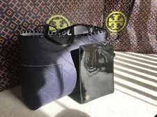 Tory Burch 44590 Block T Felt Tote Purse Bag True Navy
