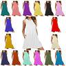 WPSLSD Women Ladies Sleeveless Beach Holiday Party Casual Pockets Swing Dress
