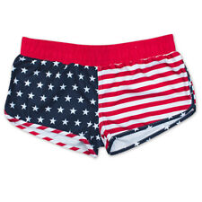 USA Patriotic American Flag Junior Swim Shorts Red