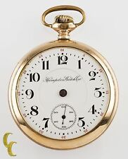 Gold Filled Hampden Watch Co. John Hancock Open Face Pocket Watch 18S 21-Jewel
