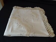 "crocheted EURO SHAM ecru NATURAL embroidered 26"" SQUARE scalloped edges 100% cot"