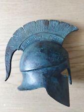 casque grec décoratif métal patiné bronze 17 cm